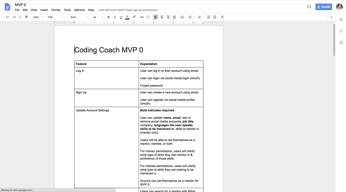 Finalized MVP 0 Requirements